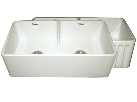 Whitehaus WHFLPLN3318-BISCUIT Farmhaus Fireclay Reversible Double Bowl Kitchen Sink with Smooth Front Apron on One Side  and Fluted Front Apron on the Opposite Side
