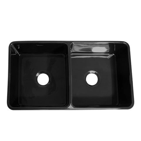Whitehaus WHFLPLN3318-BLACK Farmhaus Fireclay Reversible Double Bowl Kitchen Sink with Smooth Front Apron on One Side  and Fluted Front Apron on the Opposite Side