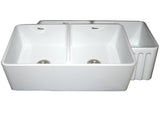 Whitehaus WHFLPLN3318-WHITE Farmhaus Fireclay Reversible Double Bowl Kitchen Sink with Smooth Front Apron on One Side  and Fluted Front Apron on the Opposite Side