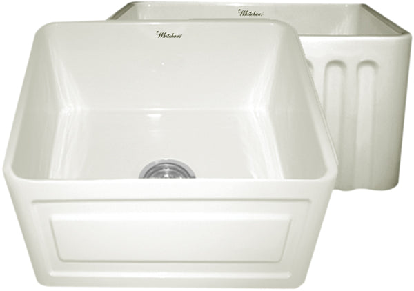 Whitehaus WHFLRPL2018-BISCUIT Farmhaus Fireclay Reversible Sink with a Raised Panel Front Apron on One Side and Fluted Front Apron on the Opposite Side