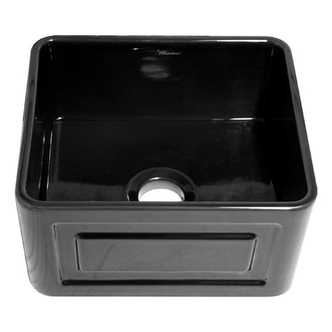 Whitehaus WHFLRPL2018-BLACK Farmhaus Fireclay Reversible Sink with a Raised Panel Front Apron on One Side and Fluted Front Apron on the Opposite Side