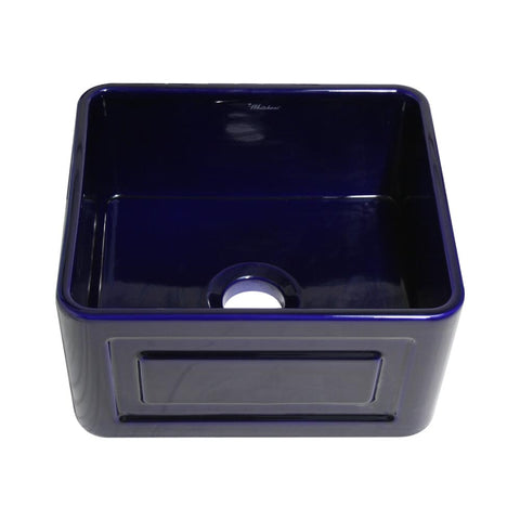 Whitehaus WHFLRPL2018-BLUE Farmhaus Fireclay Reversible Sink with a Raised Panel Front Apron on One Side and Fluted Front Apron on the Opposite Side