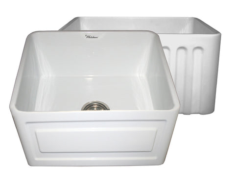 Whitehaus WHFLRPL2018-WHITE Farmhaus Fireclay Reversible Sink with a Raised Panel Front Apron on One Side and Fluted Front Apron on the Opposite Side