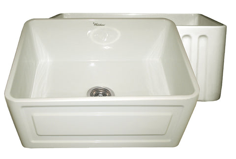 Whitehaus WHFLRPL2418-BISCUIT Farmhaus Fireclay Reversible Sink with a Raised Panel Front Apron on One Side and Fluted Front Apron on the Opposite Side