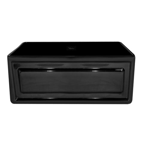 Whitehaus WHFLRPL2418-BLACK Farmhaus Fireclay Reversible Sink with a Raised Panel Front Apron on One Side and Fluted Front Apron on the Opposite Side