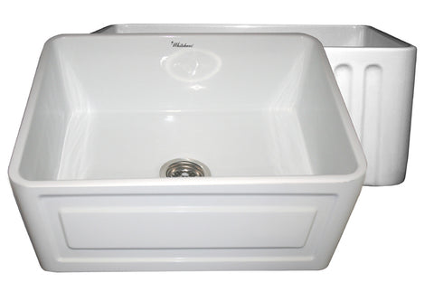 Whitehaus WHFLRPL2418-WHITE Farmhaus Fireclay Reversible Sink with a Raised Panel Front Apron on One Side and Fluted Front Apron on the Opposite Side