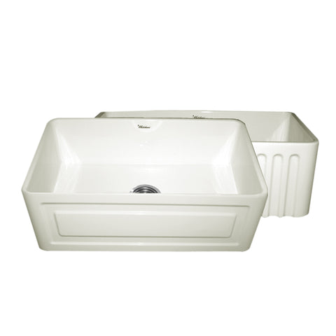 Whitehaus WHFLRPL3018-BISCUIT Farmhaus Fireclay Reversible Sink with a Raised Panel Front Apron on One Side and Fluted Front Apron on the Opposite Side