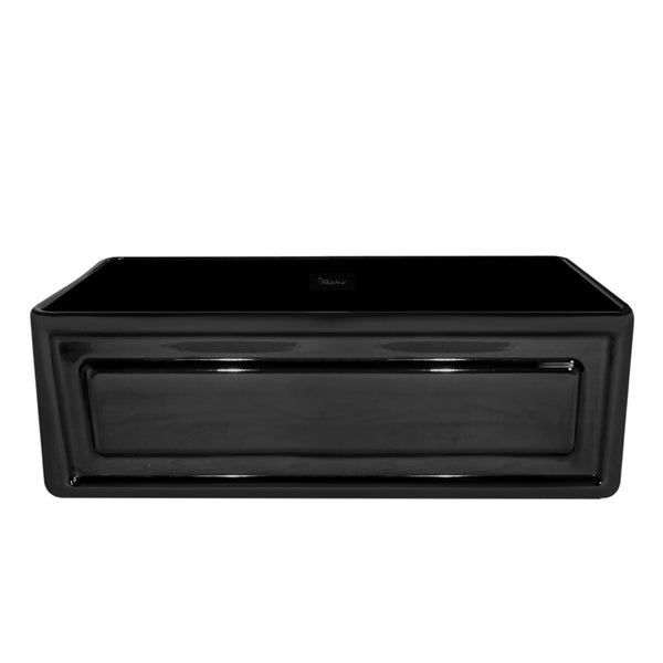 Whitehaus WHFLRPL3018-BLACK Farmhaus Fireclay Reversible Sink with a Raised Panel Front Apron on One Side and Fluted Front Apron on the Opposite Side