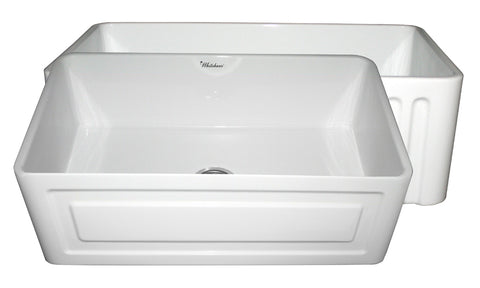 Whitehaus WHFLRPL3018-WHITE Farmhaus Fireclay Reversible Sink with a Raised Panel Front Apron on One Side and Fluted Front Apron on the Opposite Side