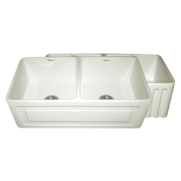 Whitehaus WHFLRPL3318-BISCUIT Farmhaus Fireclay Reversible Double Bowl Sink with a Raised Panel Front Apron on One Side and Fluted Front Apron on the Opposite Side