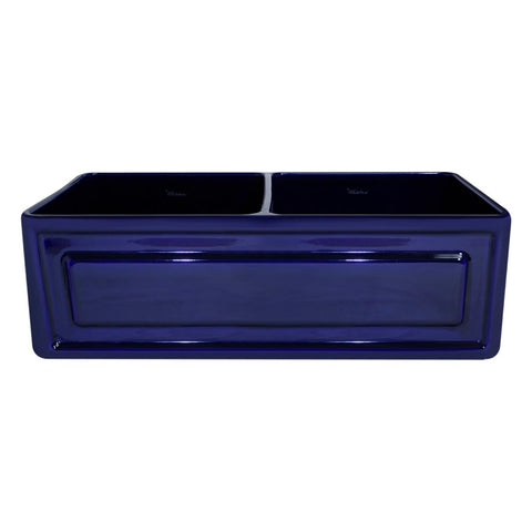 Whitehaus WHFLRPL3318-BLUE Farmhaus Fireclay Reversible Double Bowl Sink with a Raised Panel Front Apron on One Side and Fluted Front Apron on the Opposite Side
