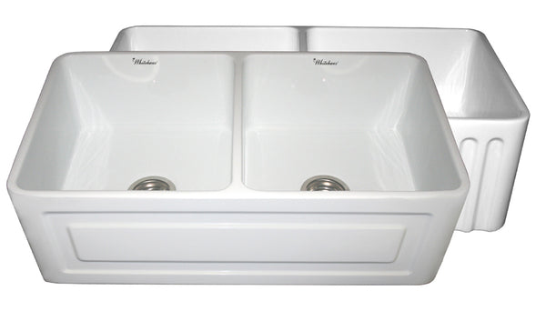 Whitehaus WHFLRPL3318-WHITE Farmhaus Fireclay Reversible Double Bowl Sink with a Raised Panel Front Apron on One Side and Fluted Front Apron on the Opposite Side
