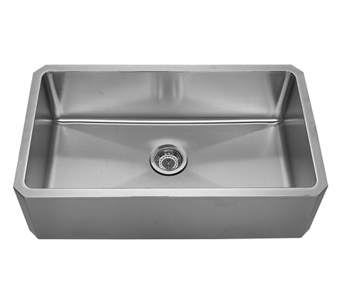 Whitehaus WHNAP3218 Noah's Collection Brushed Stainless Steel Single Bowl Front Apron Undermount Sink