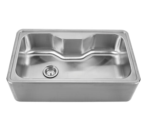 Whitehaus WHNAPA3016 Noah's Collection Brushed Stainless Steel Single Bowl Drop-in Sink with a Seamless Customized Front Apron