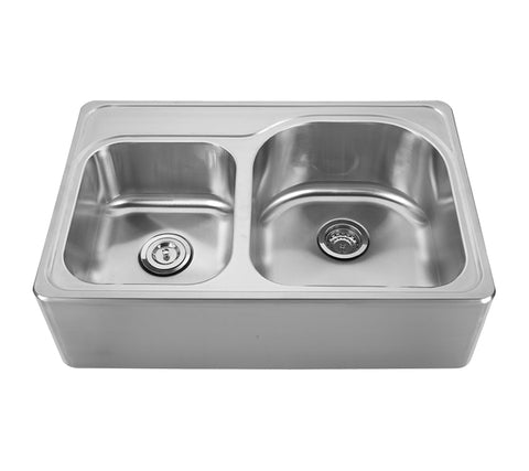 Whitehaus WHNAPD3322 Noah's Collection Brushed Stainless Steel Double Bowl Drop-in Sink with a Seamless Customized Front Apron