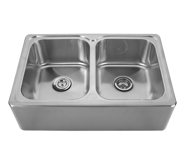Whitehaus WHNAPEQ3322 Noah's Collection Brushed Stainless Steel Double Bowl Drop-in Sink with a Seamless Customized Front Apron