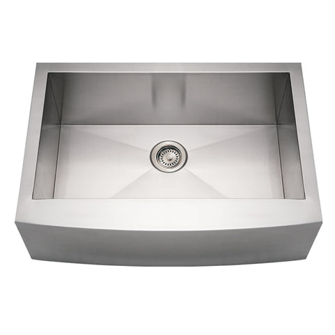 Whitehaus WHNCMAP3021 Noah's Collection Brushed Stainless Steel Commercial Single Bowl Sink with an Arched Front Apron