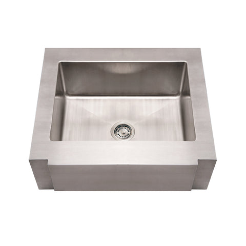 Whitehaus WHNCMAP3026 Noah's Collection Brushed Stainless Steel Commercial Single Bowl Sink with a Decorative Notched Front Apron