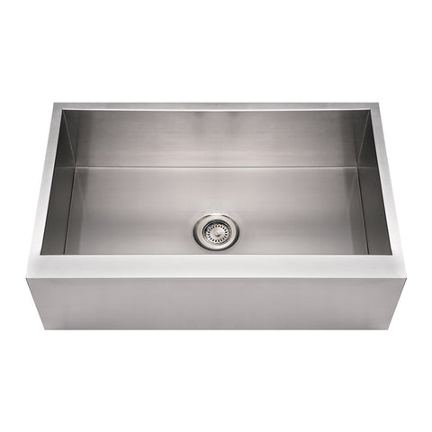 Whitehaus WHNCMAP3321 Noah's Collection Brushed Stainless Steel Commercial Single Bowl Front Apron Sink