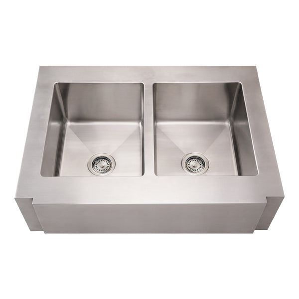 Whitehaus WHNCMAP3621EQ Noah's Collection Brushed Stainless Steel Commercial Double Bowl Sink with a Decorative Notched Front Apron
