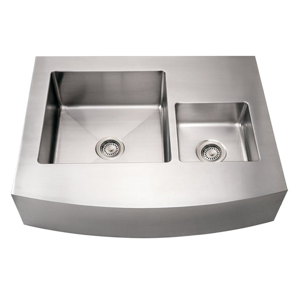 Whitehaus WHNCMDAP3629 Noah's Collection Brushed Stainless Steel Commercial Double Bowl Sink with an Arched Front Apron