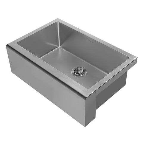 Whitehaus WHNPL3020-GM Noah Plus 16 gauge Single Bowl Undermount Sink Set with a seamless customized front Apron