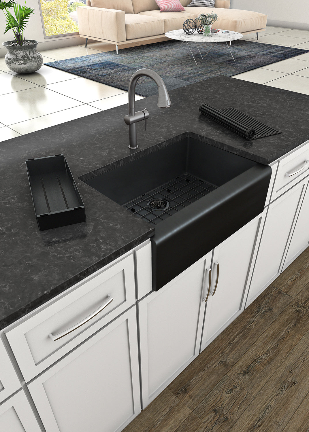Picture of: Whitehaus 30 Stainless Steel Farmhouse Apron Sink Kit Matte Black W The Sink Boutique