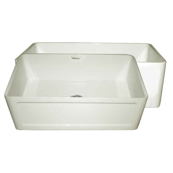 "Whitehaus WHPLCON2719-BISCUIT Farmhaus Fireclay Reversible 27"" Sink with a Plain Front Apron on One Side and a Concave Front Apron on the Other"