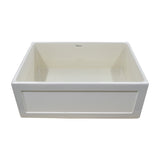 "Whitehaus WHPLCON2719 Farmhaus Fireclay Reversible 27"" Sink with a Plain Front Apron in Biscuit - The Sink Boutique"