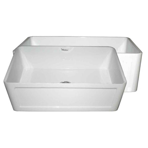 "Whitehaus WHPLCON2719-WHITE Farmhaus Fireclay Reversible 27"" Sink with a Plain Front Apron on One Side and a Concave Front Apron on the Other"
