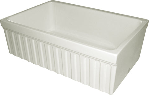 "Whitehaus WHQ330-BISCUIT Farmhaus Fireclay Quatro Alcove Reversible Sink with a Fluted Front Apron and Decorative 2 1/2"" Lip on One Side and 2"" Lip on the Opposite Side"