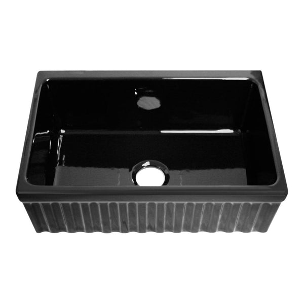 "Whitehaus WHQ330-BLACK Farmhaus Fireclay Quatro Alcove Reversible Sink with a Fluted Front Apron and Decorative 2 1/2"" Lip on One Side and 2"" Lip on the Opposite Side"