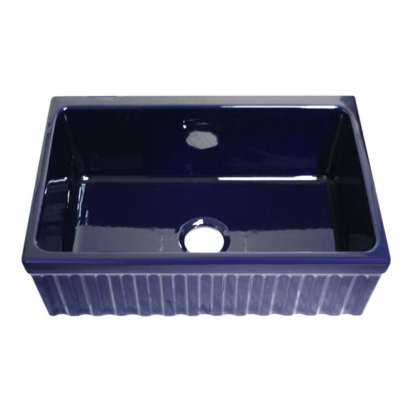 "Whitehaus WHQ330-BLUE Farmhaus Fireclay Quatro Alcove Reversible Sink with a Fluted Front Apron and Decorative 2 1/2"" Lip on One Side and 2"" Lip on the Opposite Side"