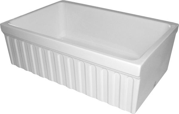 "Whitehaus WHQ330-WHITE Farmhaus Fireclay Quatro Alcove Reversible Sink with a Fluted Front Apron and Decorative 2 1/2"" Lip on One Side and 2"" Lip on the Opposite Side"