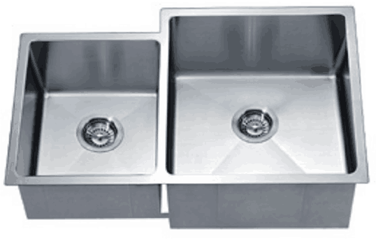 "Dawn 33"" Stainless Steel Undermount 40/60 Double Bowl Kitchen Sink, XSR311816L"