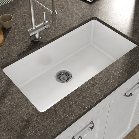"Empire Industries Yorkshire 32"" Fireclay Kitchen Sink, White, YU32G"