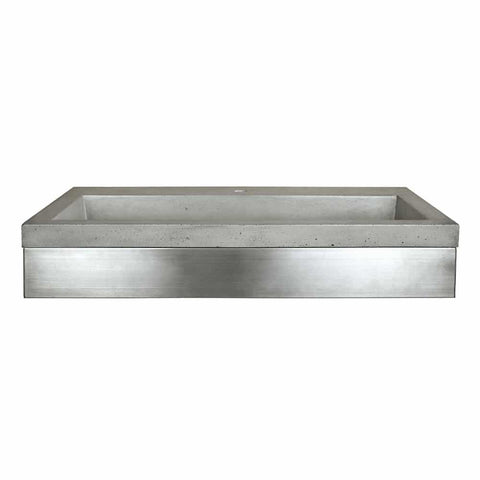 "Native Trails 36"" Zaca Vanity Base with NativeStone Trough in Ash, VNS36S-NSL3619-A"