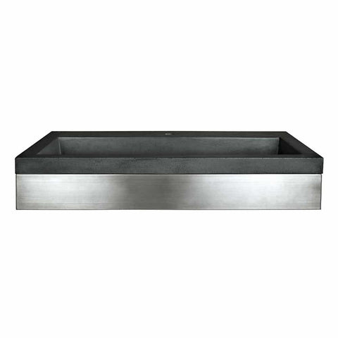 "Native Trails 36"" Zaca Vanity Base with NativeStone Trough in Slate, VNS36S-NSL3619-S"