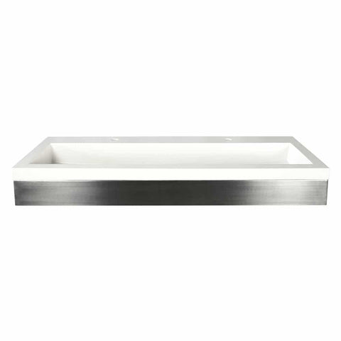 "Native Trails 48"" Zaca Vanity Base with NativeStone Trough in Pearl, VNS48S-NSL4819-P"