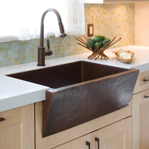 "Native Trails Zuma 33"" Copper Farmhouse Sink, Antique Copper, CPK290"