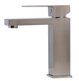 ALFI Brushed Nickel Square Single Lever Bathroom Faucet, AB1229-BN
