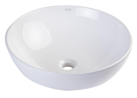 "Eago 18"" Porcelain Bathroom Sink, White, BA351"