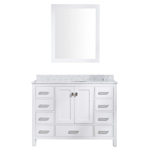 "Chateau 48"" Bathroom Vanity with Carrara White Marble Top - The Sink Boutique"