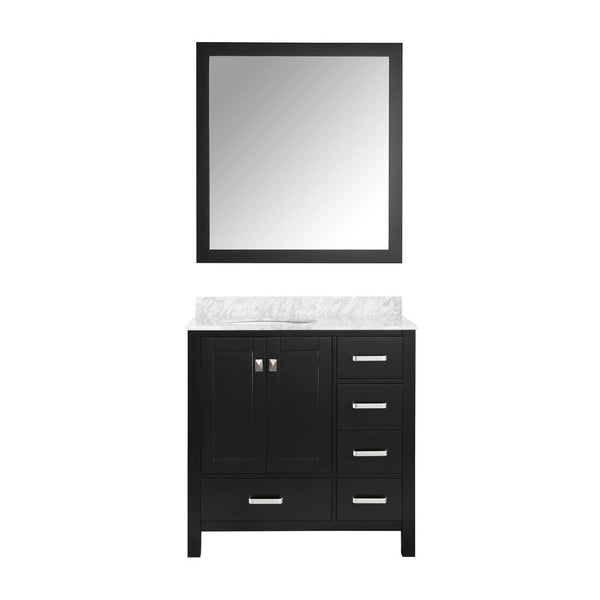 "Chateau 36"" Bathroom Vanity with Carrara White Marble Top - The Sink Boutique"