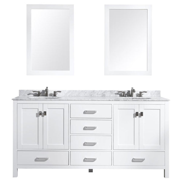 "Chateau 72"" Bathroom Vanity with Carrara White Marble Top - The Sink Boutique"