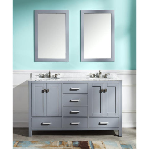 "Chateau 60"" Bathroom Vanity with Carrara White Marble Top - The Sink Boutique"