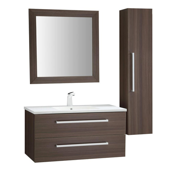 "Conques 39"" Bathroom Vanity with White Ceramic Top - The Sink Boutique"