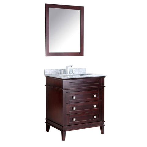 "Wineck 30"" Bathroom Vanity with Carrara White Marble Top - The Sink Boutique"