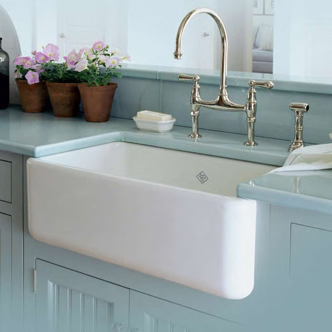 "Rohl Shaws 30"" Fireclay Single Bowl Thick Farmhouse Apron Kitchen Sink, White, RC3018WH"
