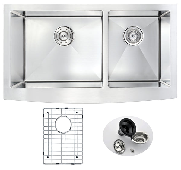ANZZI Elysian Farmhouse Stainless Steel 33 in. 0-Hole 60/40 Double Bowl Kitchen Sink in Brushed Satin K-AZ3320-4A